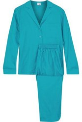 Iris And Ink Sharon Cotton Silk Blend Twill Pajama Set Turquoise