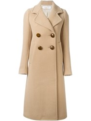 See By Chloe Double Breasted Long Coat Nude And Neutrals