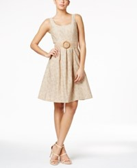 Nine West Belted Fit And Flare Dress Beige