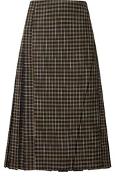 Beaufille Kari Pleated Checked Twill Wrap Skirt Green