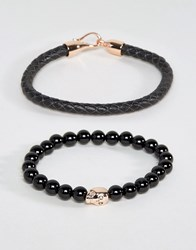 Simon Carter Leather And Onyx Beaded Bracelet Set With Rose Gold Skull Black