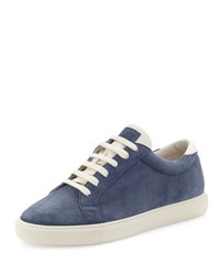 Brunello Cucinelli Men's Apollo Suede Sneaker Blue