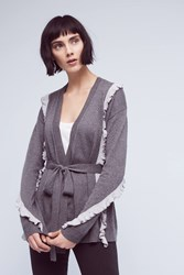 Anthropologie Ruffle Wrapped Cardigan Grey