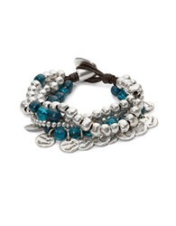 Uno De 50 Bead And Charm Layered Bracelet Blue