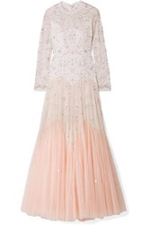 Needle And Thread Pearl Rose Cutout Embellished Embroidered Tulle Gown Pastel Pink