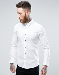 Only And Sons Skinny Concealed Button Down Collar Shirt White