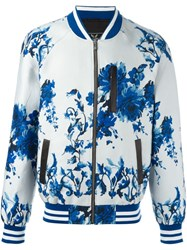 Unconditional Floral Print Bomber Jacket Blue