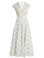 Gul Hurgel Chevron Striped Linen Dress Blue Stripe