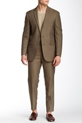 Kenneth Cole Reaction Sharkskin Two Button Peak Lapel Suit Brown