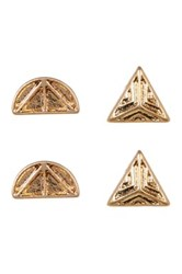 Melrose And Market Etched Half Moon Triangle Stud Earrings Set Metallic