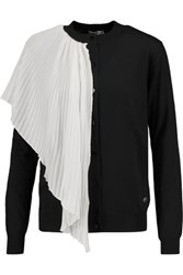 Vionnet Plisse Georgette And Wool Silk And Cashmere Blend Cardigan Black
