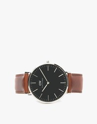 Daniel Wellington Classic Black St. Mawes In Silver Silver Brown