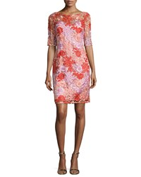 Kay Unger New York Half Sleeve Floral Lace Cocktail Dress Women's