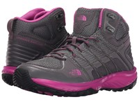 The North Face Litewave Explore Mid Steeple Grey Raspberry Rose Women's Hiking Boots Gray