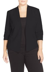 Plus Size Women's Halogen Open Front V Neck Jacket Black