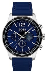 Boss Men's Professional Chronograph Leather Strap Watch 42Mm Navy Navy