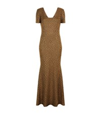 St. John Sequin Panther Knitted Gown Female Gold