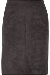 Halston Faux Suede Skirt Gray