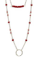 Panacea Crystal Layered Pendant Necklace Red Gold