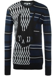 Mcq By Alexander Mcqueen Swallow Skull Intarsia Sweater Black