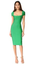 Herve Leger Margot Cap Sleeve Dress Green Opal