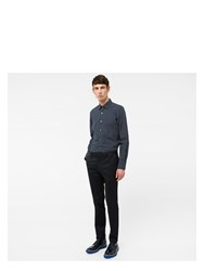 Paul Smith Men's Slim Fit Navy Polka Dot Cotton Shirt Blue