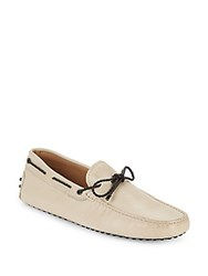 Tod's Leather Tie Moccasins Cream