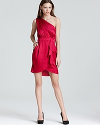 Bcbgeneration One Shoulder Dress Pleat Flounce Red Ruby