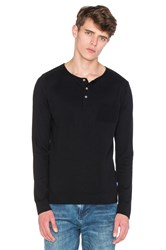 Scotch And Soda Grandad Pullover With Mesh Details Black