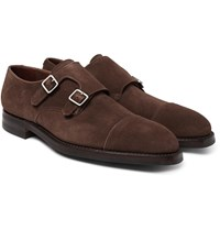 George Cleverley Thomas Pebble Grain Leather Monk Strap Shoes Brown