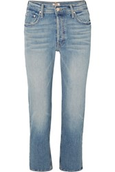 Mother The Tomcat Cropped Distressed High Rise Straight Leg Jeans Mid Denim