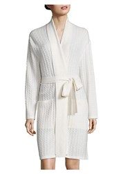 Saks Fifth Avenue Short Baby Cable Textured Cashmere Wrap Robe Snow