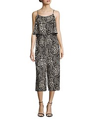 Cynthia Steffe Caris Floral Printed Popover Jumpsuit Rich Black