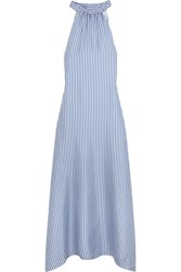 Paper London Bermuda Striped Silk Crepe De Chine Maxi Dress Sky Blue