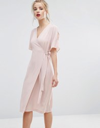 New Look Cold Shoulder Wrap Midi Dress Nude Pink