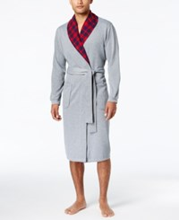 Club Room Plaid Collar Robe Created For Macy's Red Med Check