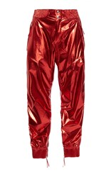 Isabel Marant Aruso Silk Track Pants Red