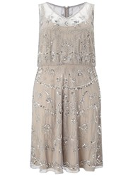 Adrianna Papell Plus Size Beaded Blouson Cocktail Dress Silver Grey