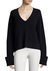 Helmut Lang Cotton Wool And Cashmere V Neck Sweater Navy Wisp