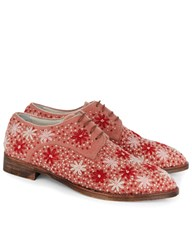 Anouki Pink Flower Embroidered Derby Shoes