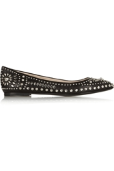 Versace Studded Leather Ballet Flats Black