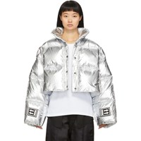 Off White Silver Down 3D Cropped Puffer