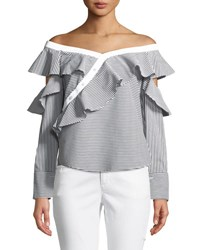 Laundry By Shelli Segal Ruffled Off The Shoulder Striped Blouse Black White