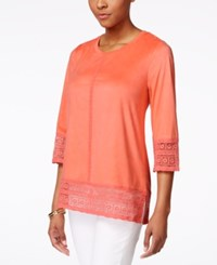 Styleandco. Style And Co. Faux Suede Crochet Trim Top Only At Macy's
