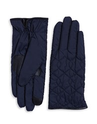 Echo Faux Fur Lined Quilted Gloves Navy Blue