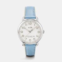 Coach 75Th Anniversary Delancey Stainless Steel Leather Strap Watch Cornflower