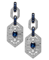Macy's Sterling Silver Sapphire 1 3 8 Ct. T.W. And Diamond 1 10 Ct. T.W. Antique Drop Earrings Blue