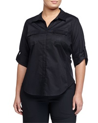 Go Silk Tabbed Sleeve Button Front Blouse Black