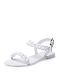 Givenchy Jelly Chain Link Flat Sandal White