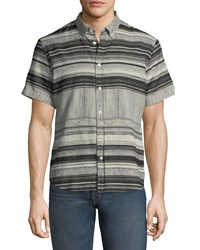 Billy Reid Murphy Striped Short Sleeve Sport Shirt Black